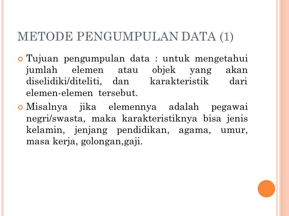 METODE PENGUMPULAN DATA (1) Tujuan pengumpulan data : untuk mengetahui jumlah elemen atau objek yang akan diselidiki/diteliti, dan karakteristik dari