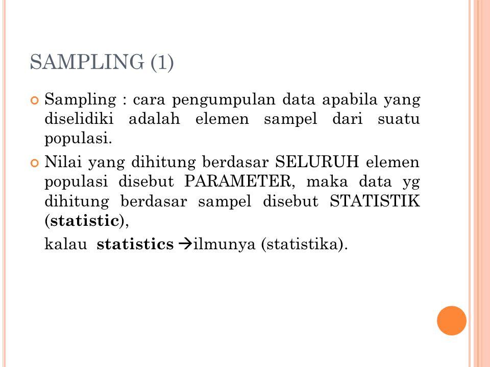 SAMPLING (1) Sampling : cara pengumpulan data apabila yang diselidiki adalah elemen sampel dari suatu populasi. Nilai yang dihitung berdasar SELURUH e