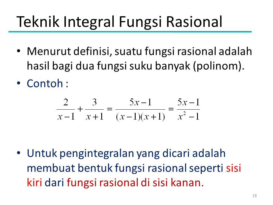 Teknik Integral Fungsi Rasional • Menurut definisi, suatu fungsi rasional adalah hasil bagi dua fungsi suku banyak (polinom). • Contoh : • Untuk pengi