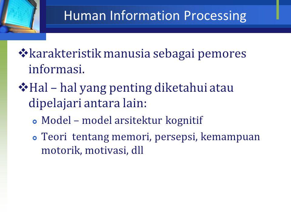 Human Characteristics (H) Karakteristik pemroses informasi oleh manusia, bagaimana struktur prilaku manusia, pola alamiah dan prasyarat phisik dan fis