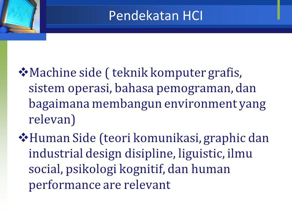 Point penting dalam HCI  Bagaimana menentukan fungsi yang dimiliki sebuah system  Bagaimana menyajikan kepada user  Bagaimana membangun sebuah syst