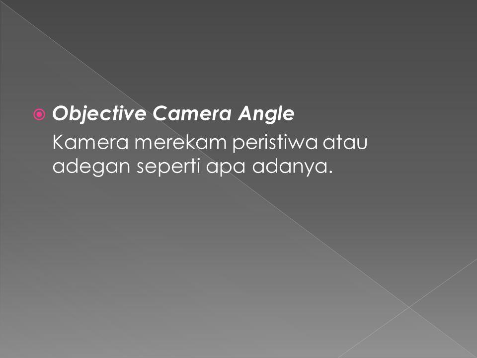  Sudut pengambilan gambar atau camera angle ada 6 posisi,yaitu:  Normal Angle  Hight Camera Angle  Low Camera Angle  Bird Eye View  Subjective Camera Angle  Objective Camera Angle
