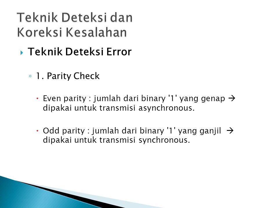  Teknik Deteksi Error ◦ 1. Parity Check  Even parity : jumlah dari binary '1' yang genap  dipakai untuk transmisi asynchronous.  Odd parity : juml