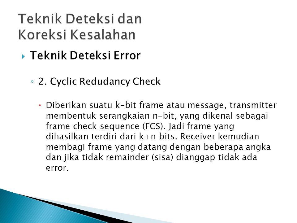  Teknik Deteksi Error ◦ 2. Cyclic Redudancy Check  Diberikan suatu k-bit frame atau message, transmitter membentuk serangkaian n-bit, yang dikenal s