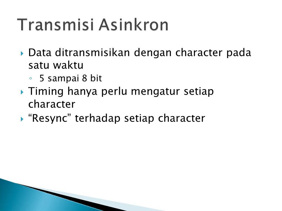 " Data ditransmisikan dengan character pada satu waktu ◦ 5 sampai 8 bit  Timing hanya perlu mengatur setiap character  ""Resync"" terhadap setiap char"