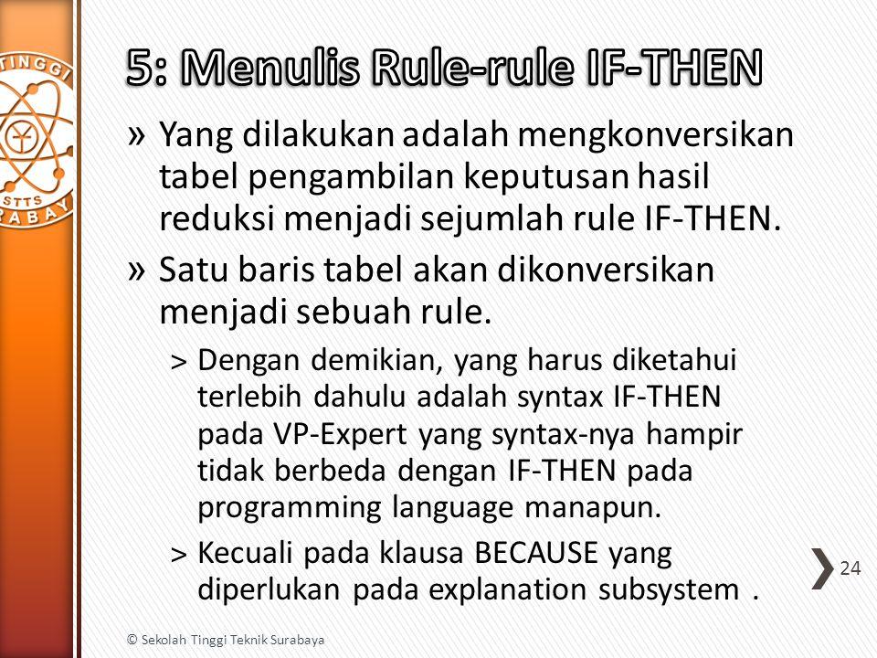 » Yang dilakukan adalah mengkonversikan tabel pengambilan keputusan hasil reduksi menjadi sejumlah rule IF-THEN. » Satu baris tabel akan dikonversikan