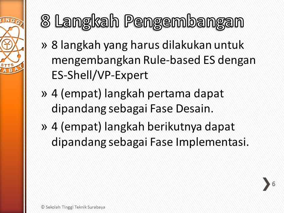 » 8 langkah yang harus dilakukan untuk mengembangkan Rule-based ES dengan ES-Shell/VP-Expert » 4 (empat) langkah pertama dapat dipandang sebagai Fase