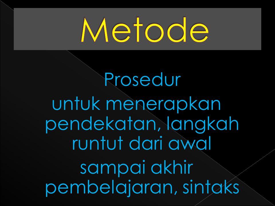 Cara praktis, gaya, atau bentuk konkret dalam menjalankan metode Cara praktis, gaya, atau bentuk konkret dalam menjalankan metode
