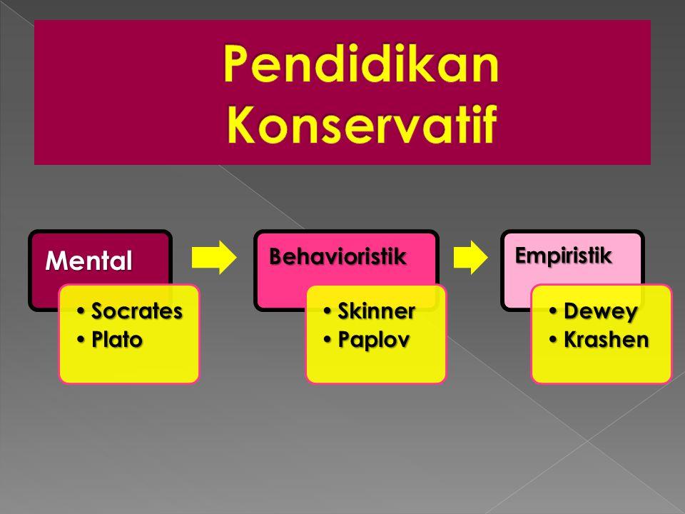 Mental • Socrates • Plato Behavioristik • Skinner • Paplov Empiristik • Dewey • Krashen