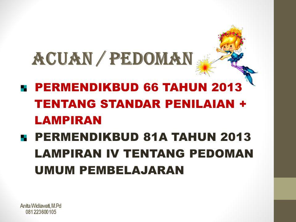 ACUAN / PEDOMAN PERMENDIKBUD 66 TAHUN 2013 TENTANG STANDAR PENILAIAN + LAMPIRAN PERMENDIKBUD 81A TAHUN 2013 LAMPIRAN IV TENTANG PEDOMAN UMUM PEMBELAJA