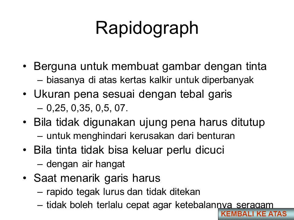 Rapidograph •Berguna untuk membuat gambar dengan tinta –biasanya di atas kertas kalkir untuk diperbanyak •Ukuran pena sesuai dengan tebal garis –0,25, 0,35, 0,5, 07.