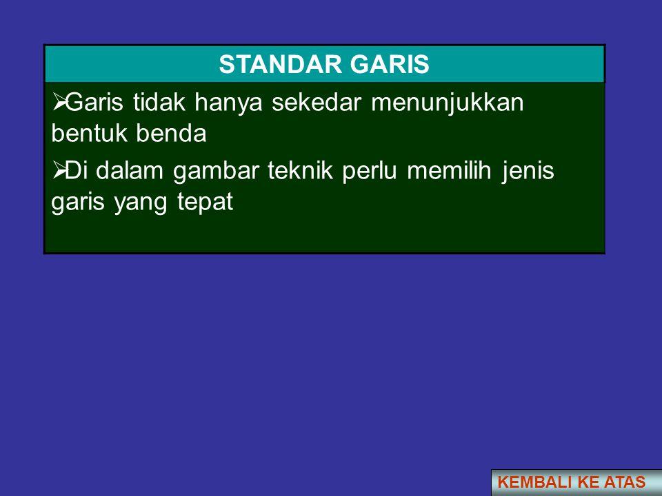 STANDAR GARIS  Garis tidak hanya sekedar menunjukkan bentuk benda  Di dalam gambar teknik perlu memilih jenis garis yang tepat KEMBALI KE ATAS