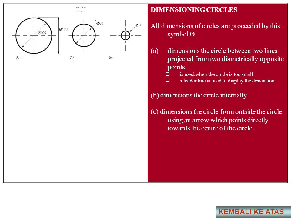 DIMENSIONING CIRCLES All dimensions of circles are proceeded by this symbol Ø (a)dimensions the circle between two lines projected from two diametrica