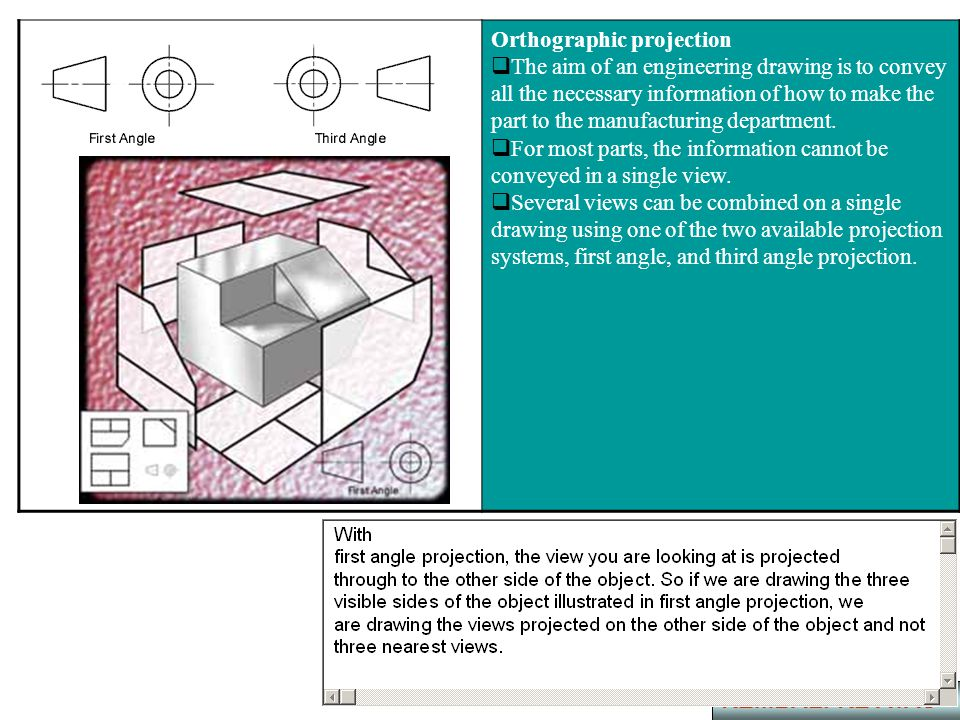 Orthographic projection  The aim of an engineering drawing is to convey all the necessary information of how to make the part to the manufacturing de