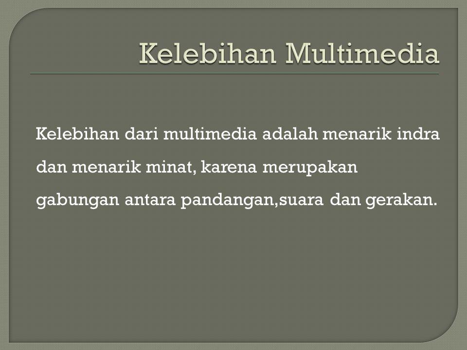 Kelebihan dari multimedia adalah menarik indra dan menarik minat, karena merupakan gabungan antara pandangan,suara dan gerakan.