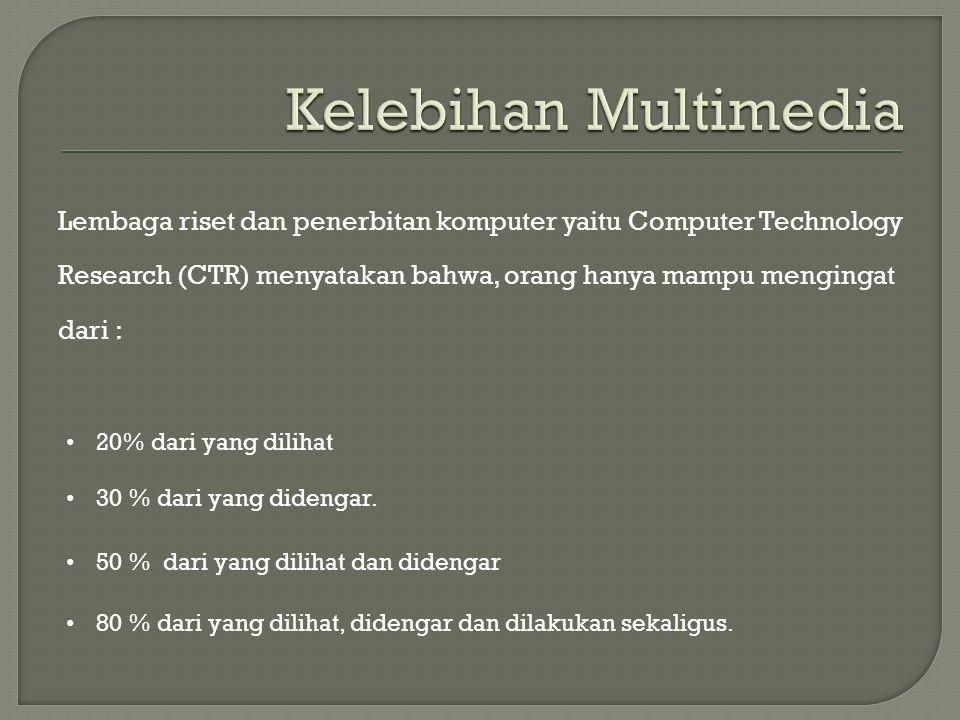 Lembaga riset dan penerbitan komputer yaitu Computer Technology Research (CTR) menyatakan bahwa, orang hanya mampu mengingat dari : • 20% dari yang di