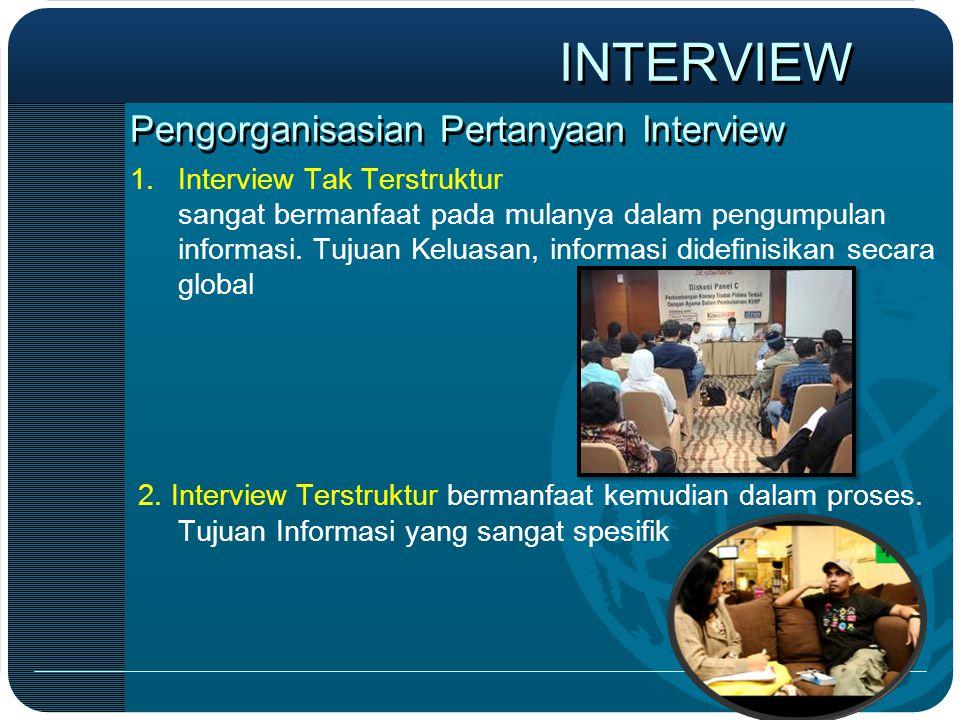 Pengorganisasian Pertanyaan Interview 1.Interview Tak Terstruktur sangat bermanfaat pada mulanya dalam pengumpulan informasi. Tujuan Keluasan, informa