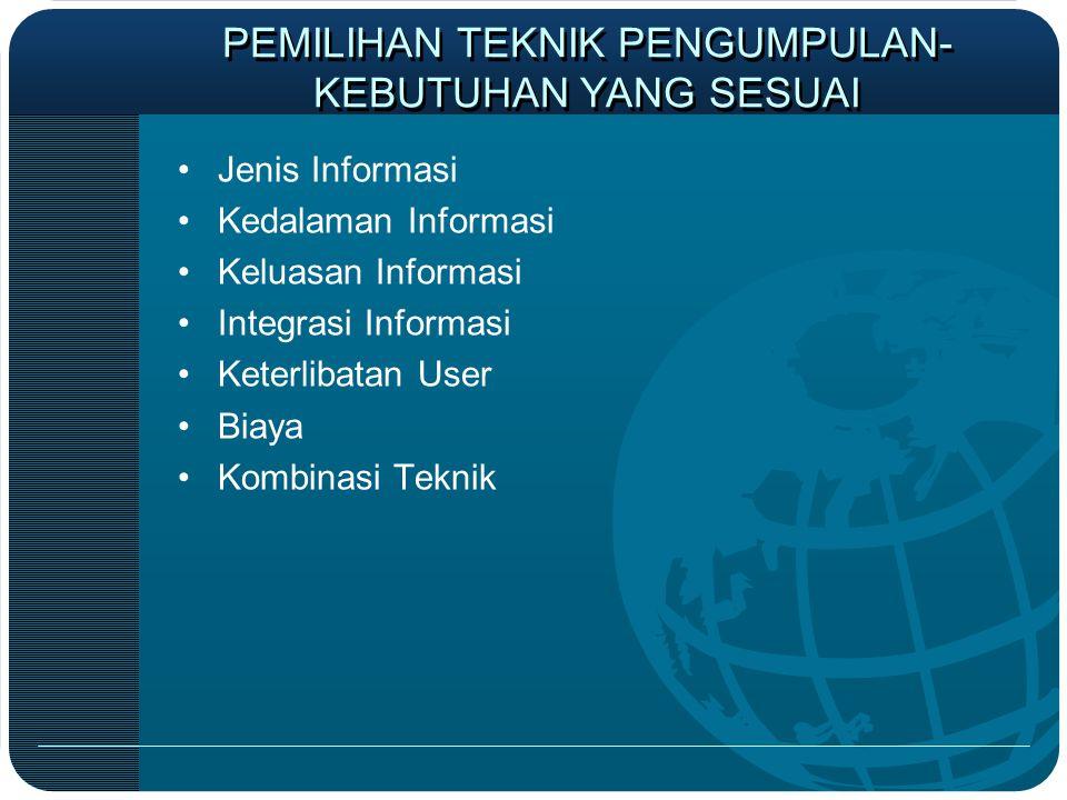 PEMILIHAN TEKNIK PENGUMPULAN- KEBUTUHAN YANG SESUAI •Jenis Informasi •Kedalaman Informasi •Keluasan Informasi •Integrasi Informasi •Keterlibatan User