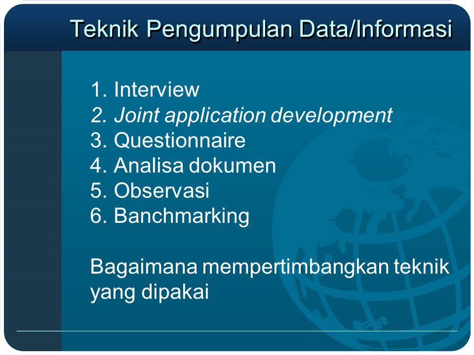 Teknik Pengumpulan Data/Informasi 1.Interview 2.Joint application development 3.Questionnaire 4.Analisa dokumen 5.Observasi 6.Banchmarking Bagaimana m