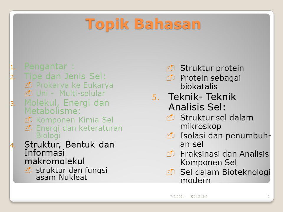 Topik Bahasan  Struktur protein  Protein sebagai biokatalis 5.