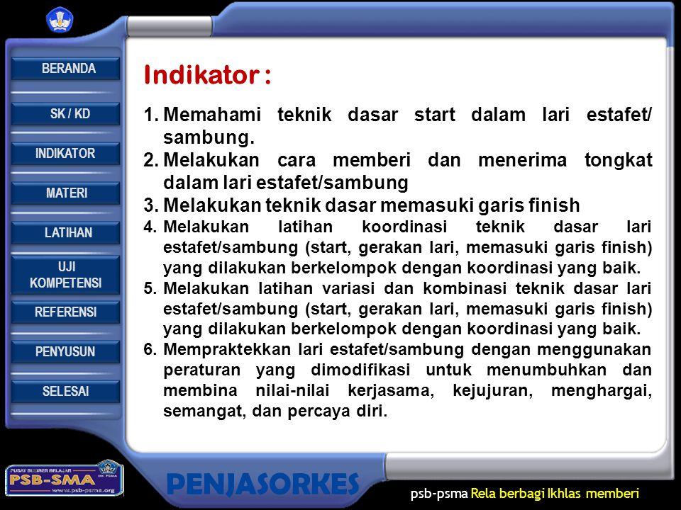 REFERENSI LATIHAN LATIHAN MATERI PENYUSUN INDIKATOR SK / KD UJI KOMPETENSI UJI KOMPETENSI BERANDA SELESAI PENJASORKES psb-psma Rela berbagi Ikhlas memberi Buku pegangan guru dan siswa SMA Kelas X, Muhajir, Pendidikan Jasmani, Olahraga dan Kesehatan, Jakarta: Erlangga.