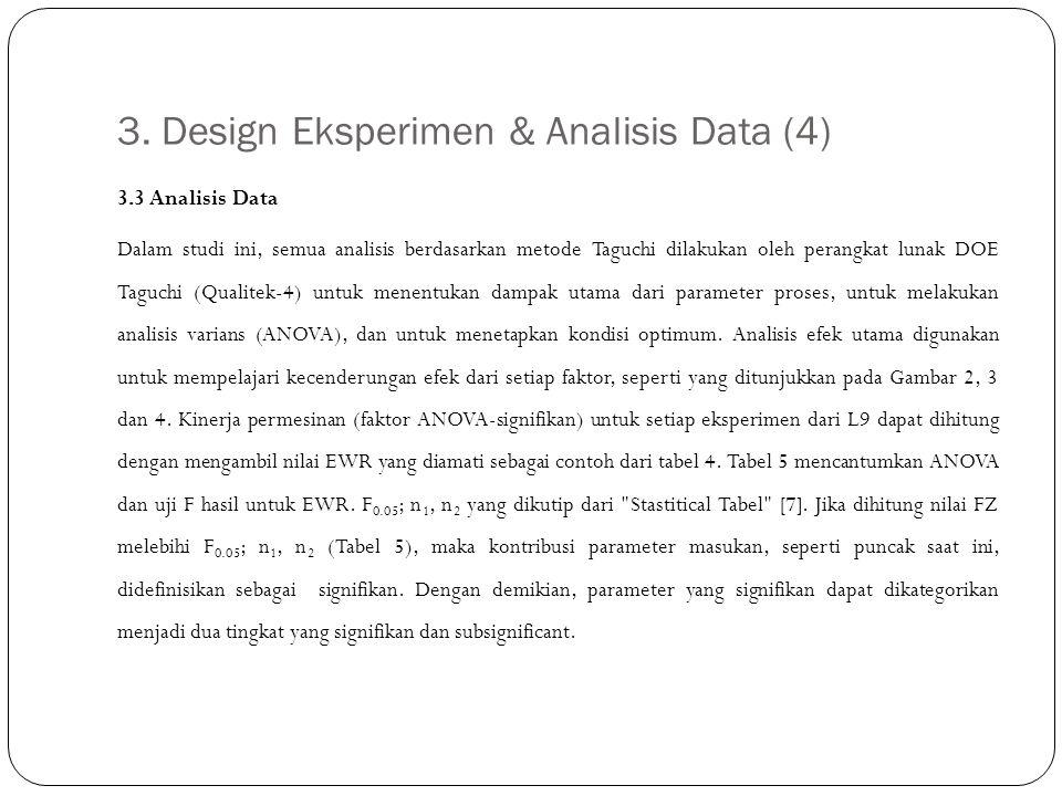 3. Design Eksperimen & Analisis Data (4) 3.3 Analisis Data Dalam studi ini, semua analisis berdasarkan metode Taguchi dilakukan oleh perangkat lunak D