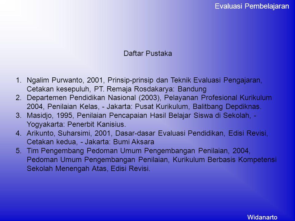 Widanarto Evaluasi Pembelajaran Daftar Pustaka 1.Ngalim Purwanto, 2001, Prinsip-prinsip dan Teknik Evaluasi Pengajaran, Cetakan kesepuluh, PT. Remaja