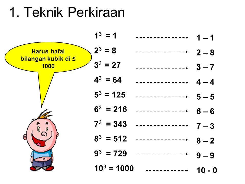 1 3 = 1 2 3 = 8 3 3 = 27 4 3 = 64 5 3 = 125 6 3 = 216 7 3 = 343 8 3 = 512 9 3 = 729 10 3 = 1000 1 – 1 2 – 8 3 – 7 4 – 4 5 – 5 6 – 6 7 – 3 8 – 2 9 – 9