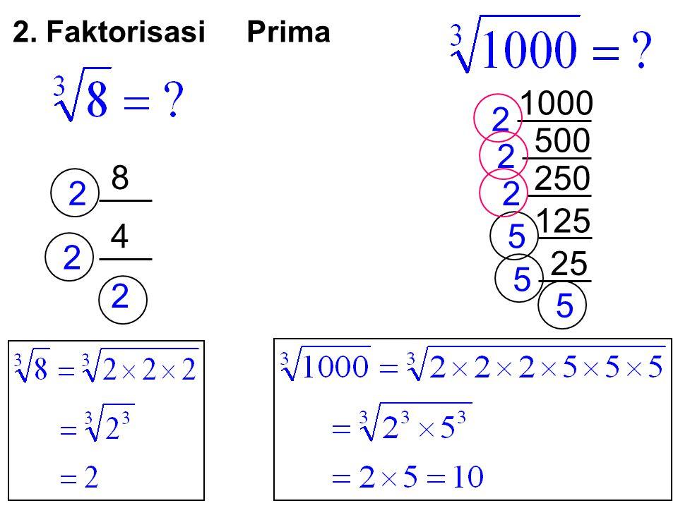 8 2 500 4 2 2 2 125 2 250 2 1000 25 5 5 5 2. Faktorisasi Prima