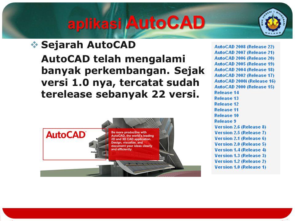  Sejarah AutoCAD AutoCAD telah mengalami banyak perkembangan. Sejak versi 1.0 nya, tercatat sudah terelease sebanyak 22 versi. aplikasi AutoCAD