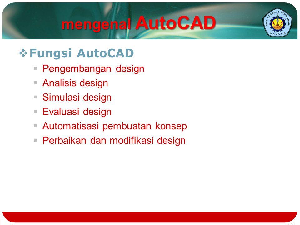  Fungsi AutoCAD  Pengembangan design  Analisis design  Simulasi design  Evaluasi design  Automatisasi pembuatan konsep  Perbaikan dan modifikas
