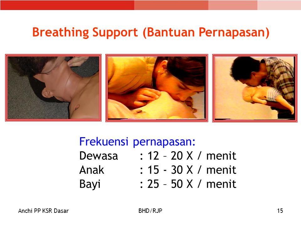 Anchi PP KSR DasarBHD/RJP15 Breathing Support (Bantuan Pernapasan) Frekuensi pernapasan: Dewasa: 12 – 20 X / menit Anak : 15 - 30 X / menit Bayi: 25 – 50 X / menit