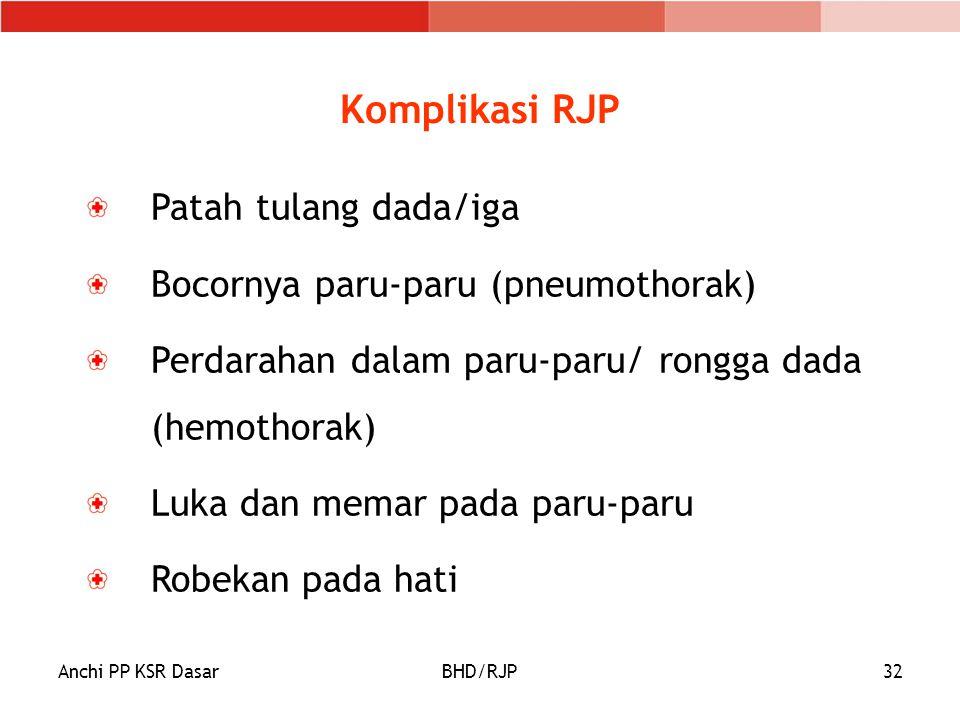 Anchi PP KSR DasarBHD/RJP32 Komplikasi RJP Patah tulang dada/iga Bocornya paru-paru (pneumothorak) Perdarahan dalam paru-paru/ rongga dada (hemothorak) Luka dan memar pada paru-paru Robekan pada hati