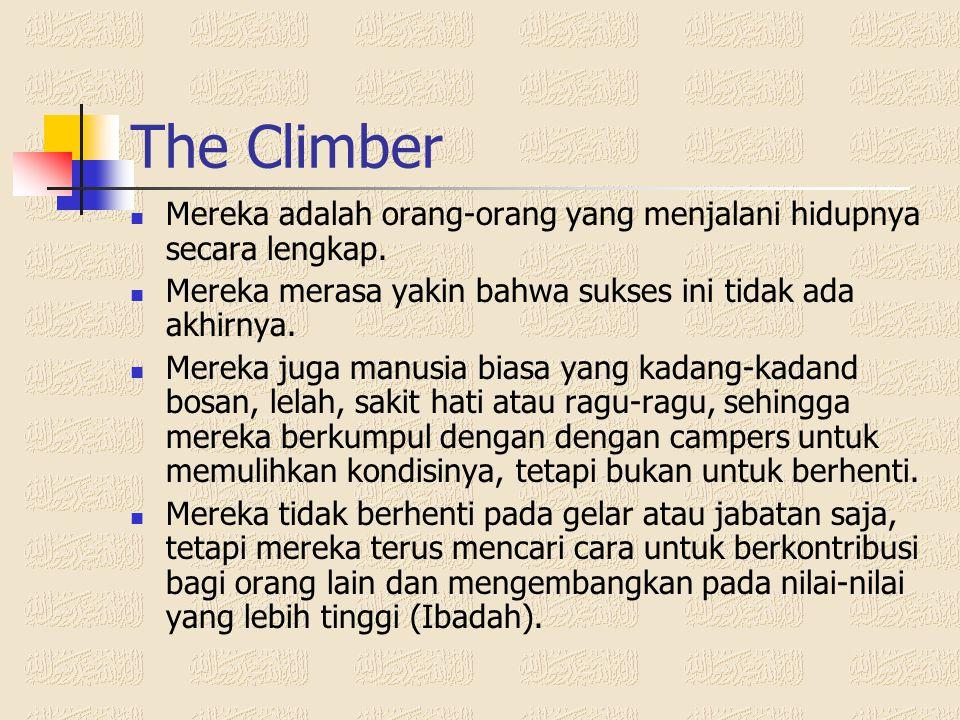 The Camper  Mereka adalah orang-orang yang pada waktu mendaki kehidupan merasa bosan, lelah dan mencari tempat yang datar untuk beristirahat.  Merek