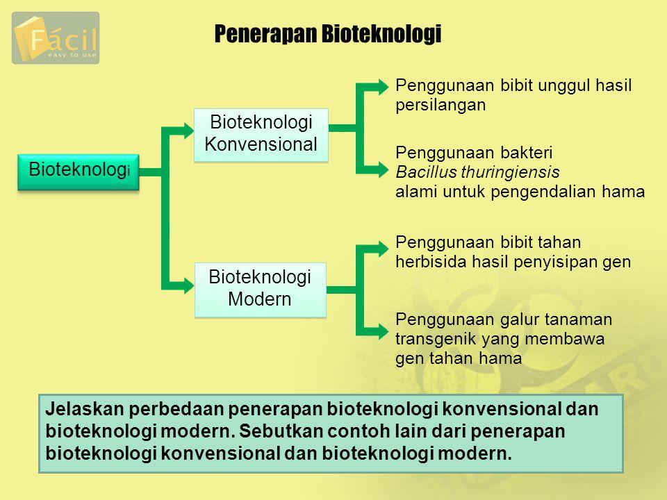 Penerapan Bioteknologi Penggunaan bibit unggul hasil persilangan Penggunaan bibit tahan herbisida hasil penyisipan gen Penggunaan bakteri Bacillus thu