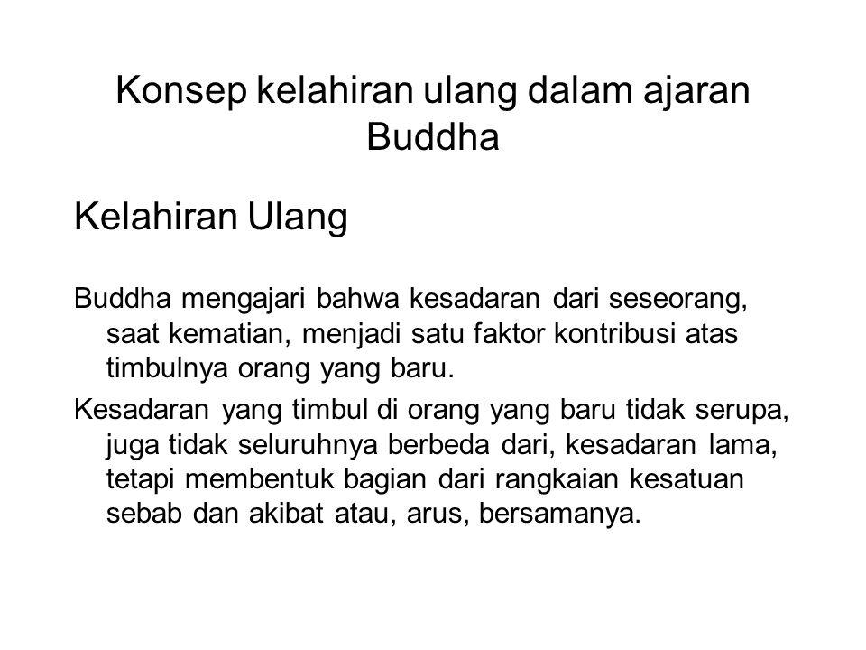 Konsep kelahiran ulang dalam ajaran Buddha Kelahiran Ulang Buddha mengajari bahwa kesadaran dari seseorang, saat kematian, menjadi satu faktor kontrib