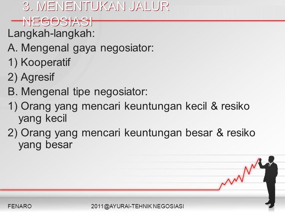 3. MENENTUKAN JALUR NEGOSIASI 3. MENENTUKAN JALUR NEGOSIASI Langkah-langkah: A. Mengenal gaya negosiator: 1) Kooperatif 2) Agresif B. Mengenal tipe ne