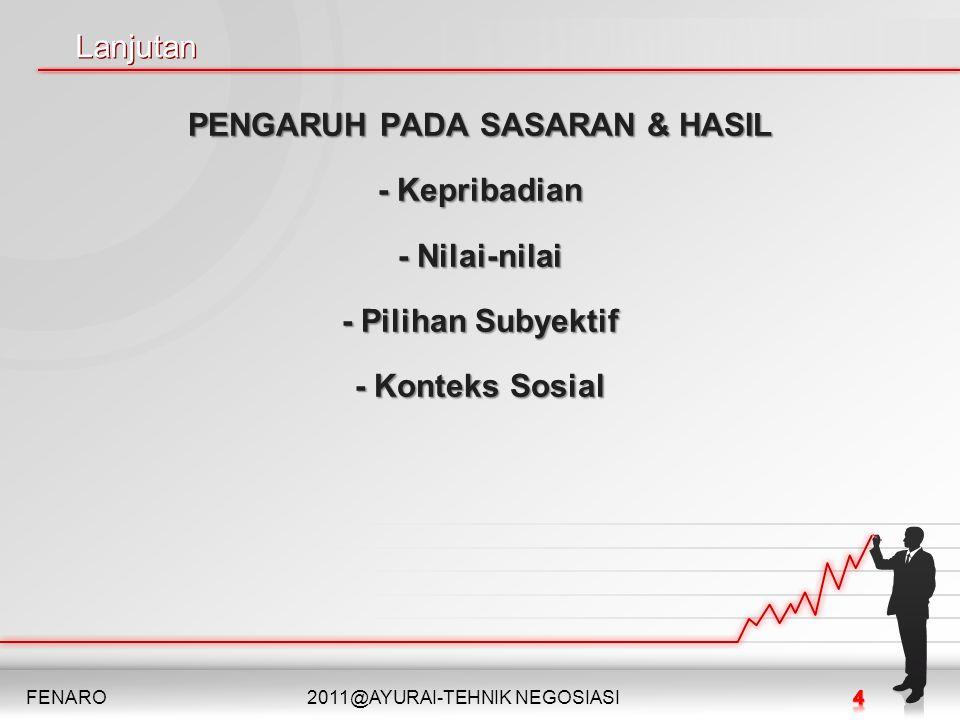 Lanjutan Lanjutan PENGARUH PADA SASARAN & HASIL - Kepribadian - Nilai-nilai - Pilihan Subyektif - Konteks Sosial FENARO2011@AYURAI-TEHNIK NEGOSIASI