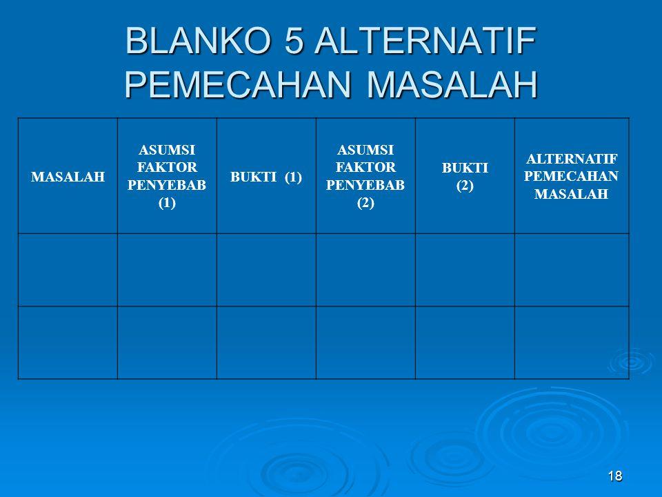 BLANKO 5 ALTERNATIF PEMECAHAN MASALAH MASALAH ASUMSI FAKTOR PENYEBAB (1) BUKTI (1) ASUMSI FAKTOR PENYEBAB (2) BUKTI (2) ALTERNATIF PEMECAHAN MASALAH 18