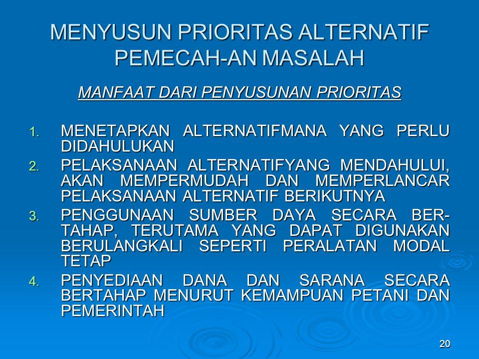 MENYUSUN PRIORITAS ALTERNATIF PEMECAH-AN MASALAH MANFAAT DARI PENYUSUNAN PRIORITAS 1.