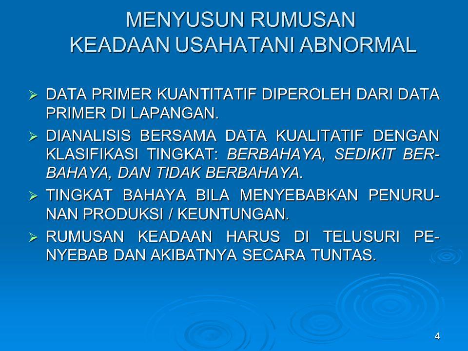 MENYUSUN RUMUSAN KEADAAN USAHATANI ABNORMAL  DATA PRIMER KUANTITATIF DIPEROLEH DARI DATA PRIMER DI LAPANGAN.