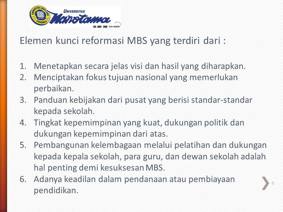 Elemen kunci reformasi MBS yang terdiri dari : 1.Menetapkan secara jelas visi dan hasil yang diharapkan.