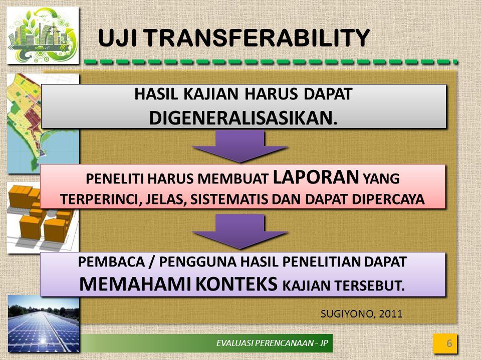 EVALUASI PERENCANAAN - JP UJI TRANSFERABILITY 6 HASIL KAJIAN HARUS DAPAT DIGENERALISASIKAN. PENELITI HARUS MEMBUAT LAPORAN YANG TERPERINCI, JELAS, SIS