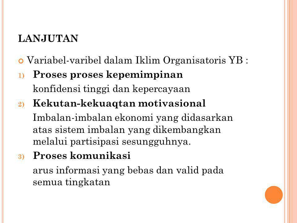 LANJUTAN Variabel-varibel dalam Iklim Organisatoris YB : 1) Proses proses kepemimpinan konfidensi tinggi dan kepercayaan 2) Kekutan-kekuaqtan motivasional Imbalan-imbalan ekonomi yang didasarkan atas sistem imbalan yang dikembangkan melalui partisipasi sesungguhnya.