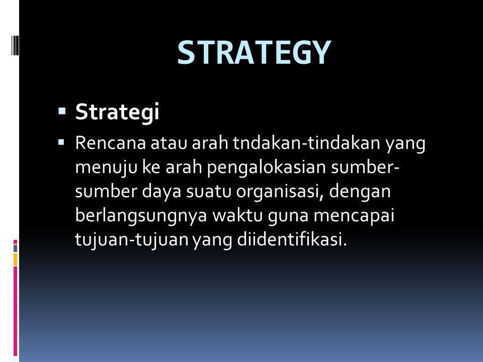 STRATEGY  Strategi  Rencana atau arah tndakan-tindakan yang menuju ke arah pengalokasian sumber- sumber daya suatu organisasi, dengan berlangsungnya waktu guna mencapai tujuan-tujuan yang diidentifikasi.