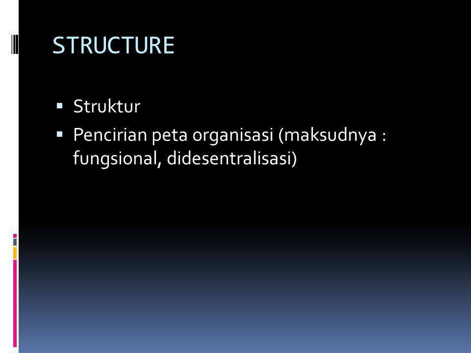 STRUCTURE  Struktur  Pencirian peta organisasi (maksudnya : fungsional, didesentralisasi)