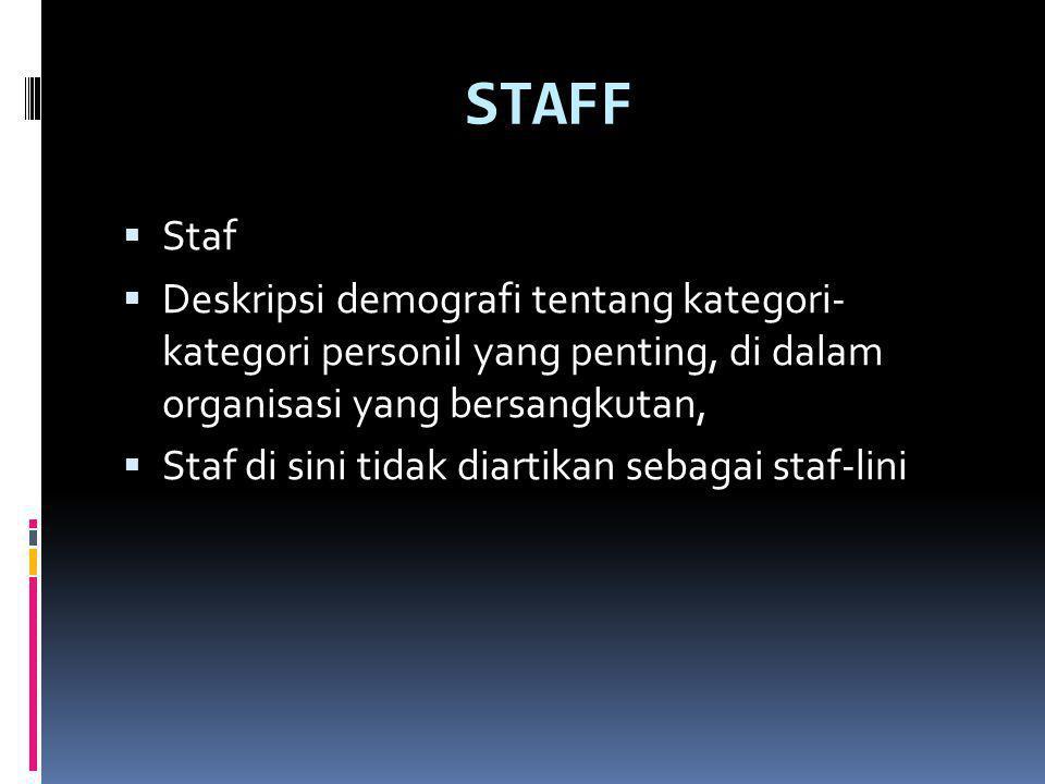 STAFF  Staf  Deskripsi demografi tentang kategori- kategori personil yang penting, di dalam organisasi yang bersangkutan,  Staf di sini tidak diartikan sebagai staf-lini