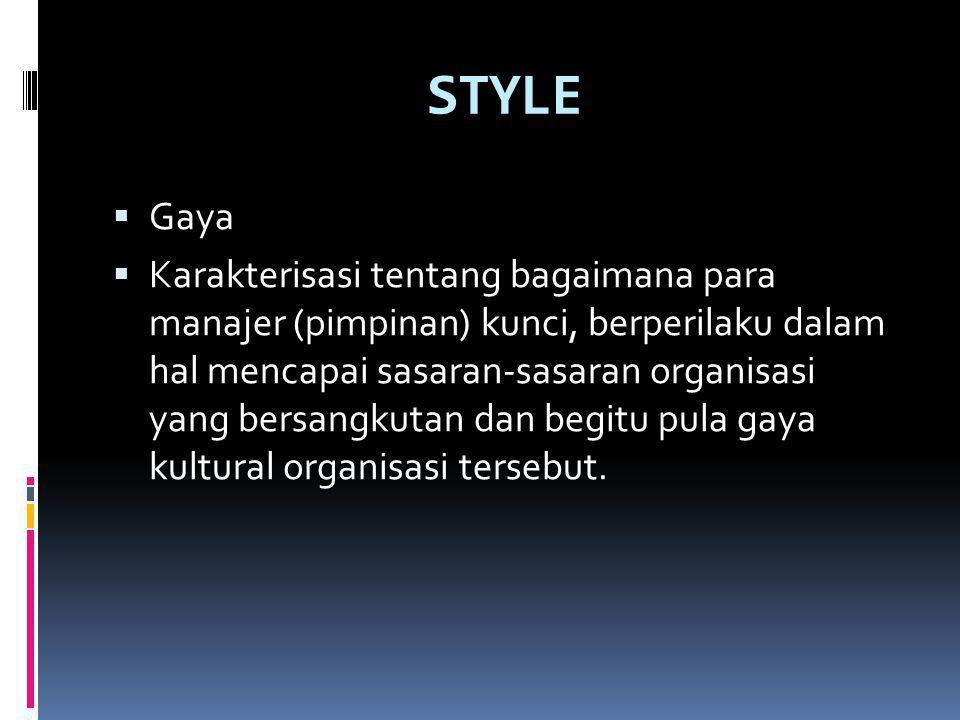 STYLE  Gaya  Karakterisasi tentang bagaimana para manajer (pimpinan) kunci, berperilaku dalam hal mencapai sasaran-sasaran organisasi yang bersangkutan dan begitu pula gaya kultural organisasi tersebut.