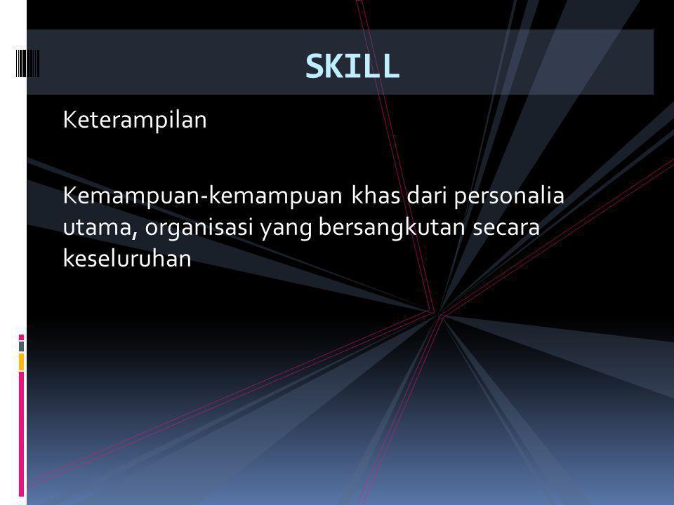 Keterampilan Kemampuan-kemampuan khas dari personalia utama, organisasi yang bersangkutan secara keseluruhan SKILL