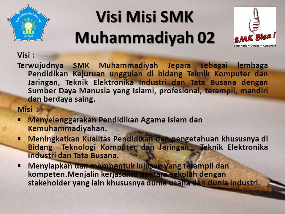 Visi Misi SMK Muhammadiyah 02 Visi : Terwujudnya SMK Muhammadiyah Jepara sebagai lembaga Pendidikan Kejuruan unggulan di bidang Teknik Komputer dan Ja